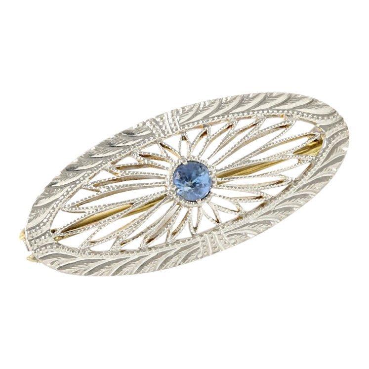 14k White Gold Filigree Sapphire Pin, 0.15 cts