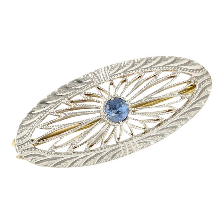 14k White Gold Filigree Sapphire Pin, 0.15 cts