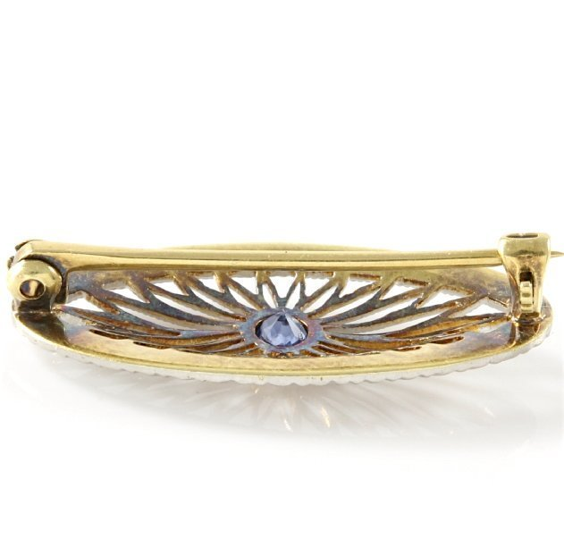 14k White Gold Filigree Sapphire Pin, 0.15 cts - 4