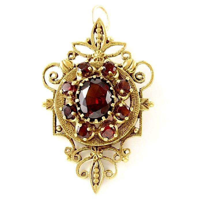 14K Vintage Yellow Gold Garnet Vintage Pendant
