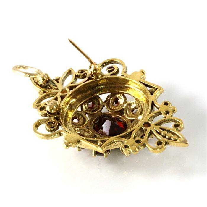 14K Vintage Yellow Gold Garnet Vintage Pendant - 3