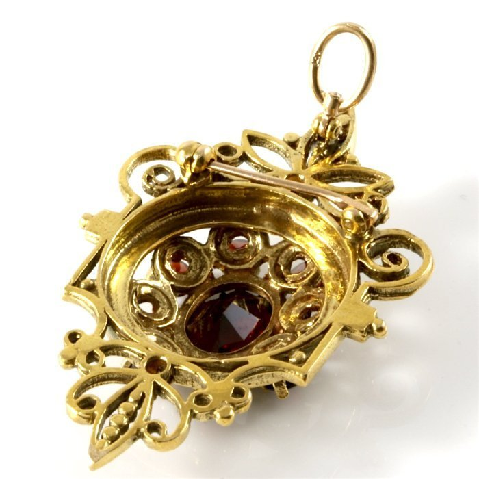 14K Vintage Yellow Gold Garnet Vintage Pendant - 5