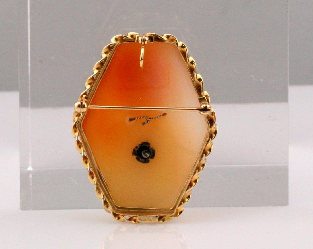Vintage 14K Gold Diamond Cameo Brooch / Pendant - 3