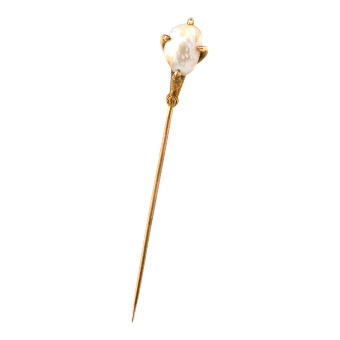 Antique Victorian 14K Gold River Pearl Stick Pin