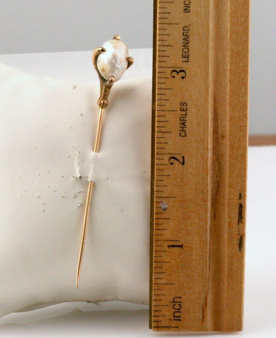 Antique Victorian 14K Gold River Pearl Stick Pin - 2