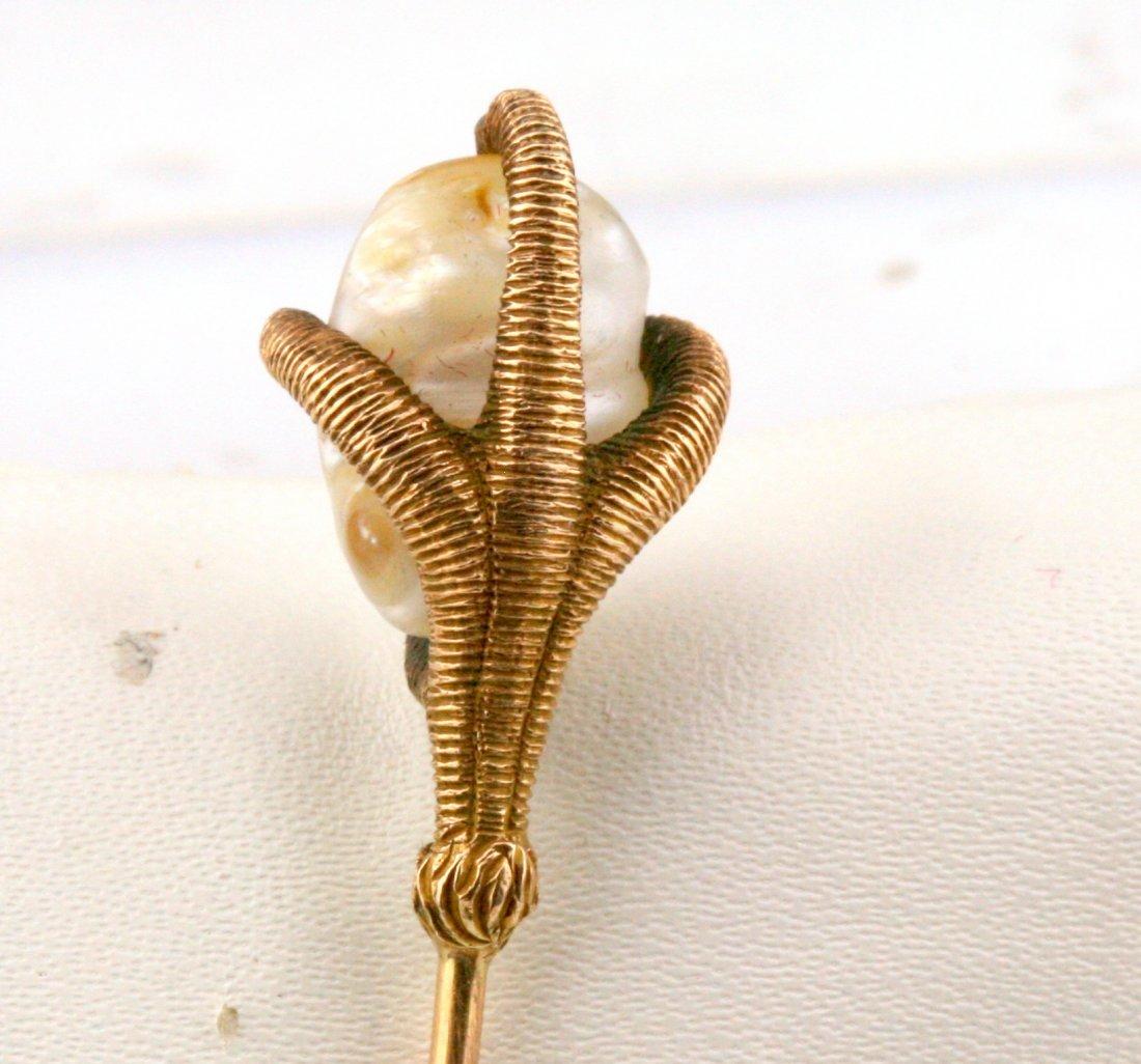 Antique Victorian 14K Gold River Pearl Stick Pin - 3