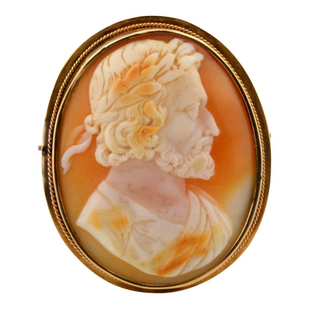Rare 14K Gold Shell Man Cameo Brooch