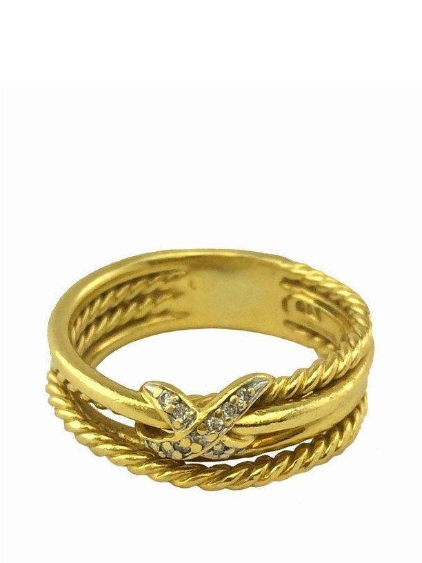 David Yurman: 18K Gold X Crossover Diamond Ring