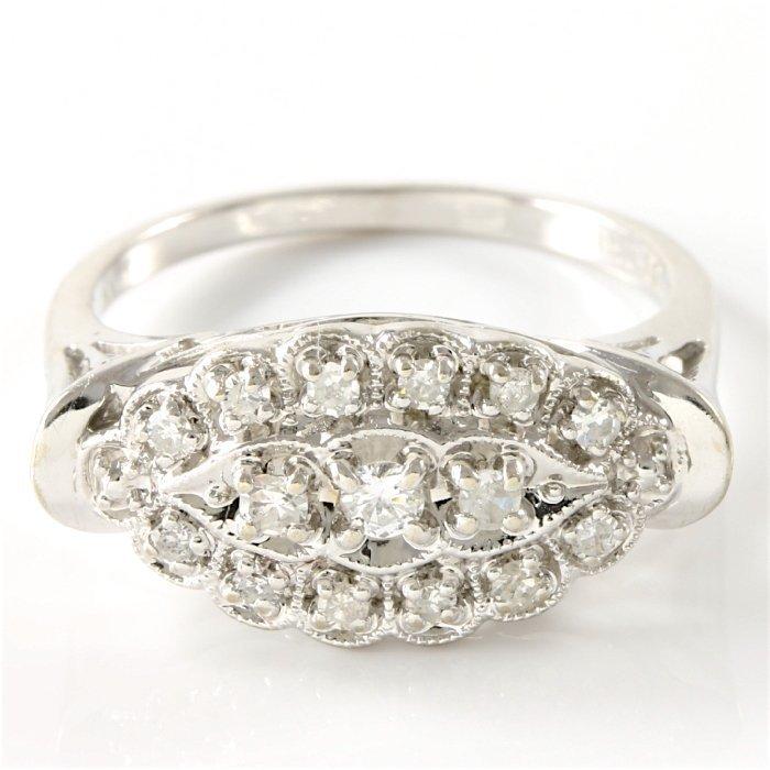 Estate 14K White Gold Diamond Ring, 0.50 ctw - 2