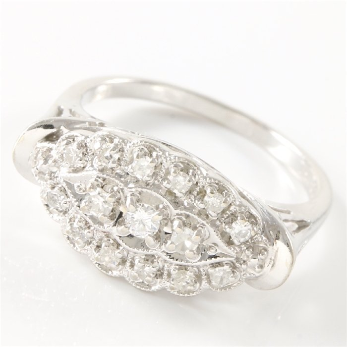 Estate 14K White Gold Diamond Ring, 0.50 ctw - 3