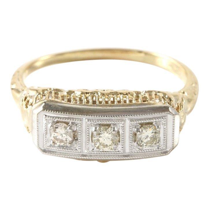 Estate 14K White & Yellow Gold 3 Diamond Ring, 0.50 ctw