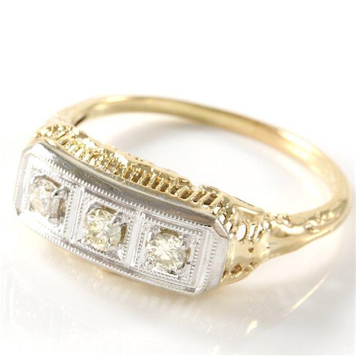 Estate 14K White & Yellow Gold 3 Diamond Ring, 0.50 ctw - 2