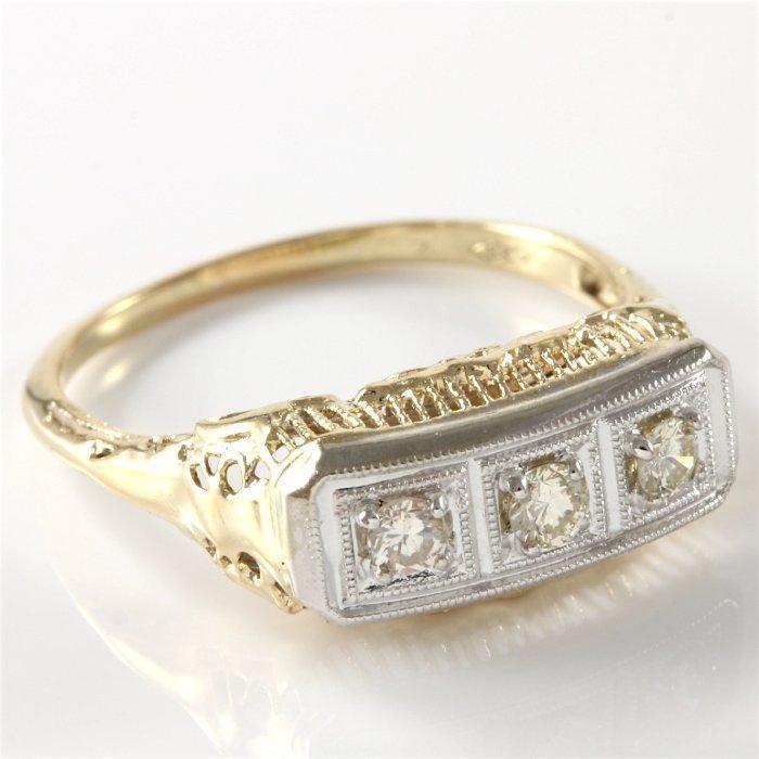 Estate 14K White & Yellow Gold 3 Diamond Ring, 0.50 ctw - 3