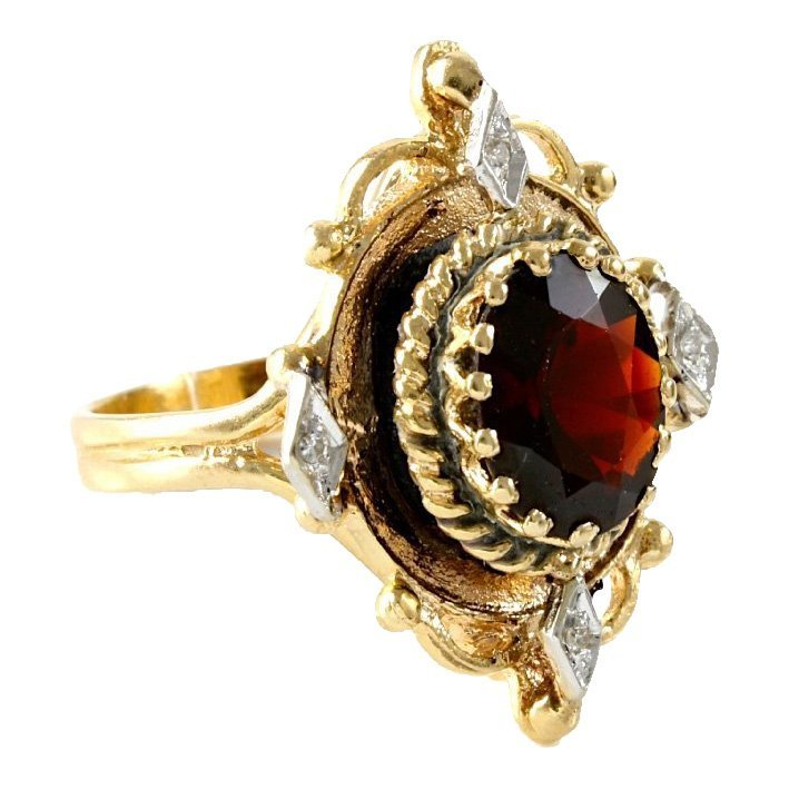 Vintage 14K Yellow Gold Garnet & Diamond Ring, 3.23 ctw