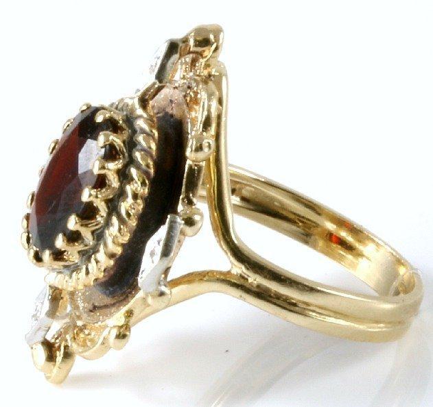 Vintage 14K Yellow Gold Garnet & Diamond Ring, 3.23 ctw - 2