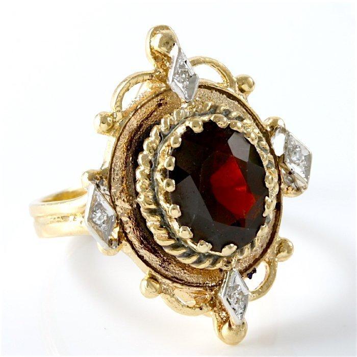 Vintage 14K Yellow Gold Garnet & Diamond Ring, 3.23 ctw - 3