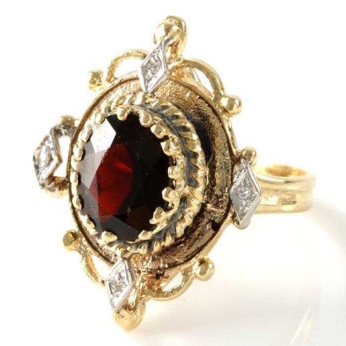 Vintage 14K Yellow Gold Garnet & Diamond Ring, 3.23 ctw - 4