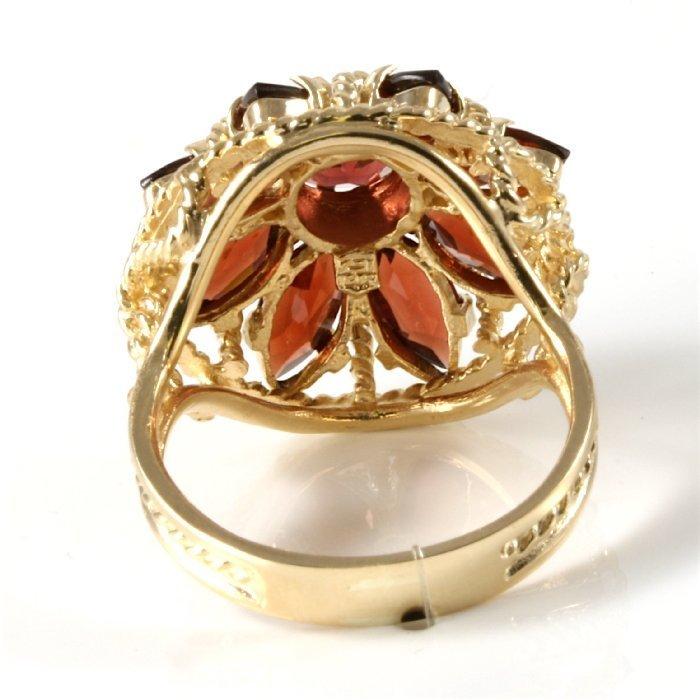 Estate 14K Yellow Gold Garnet Cocktail Ring, 3.50 ctw - 3