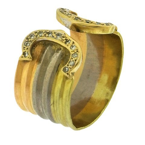 18K Tricolor Gold Open Ring - 2