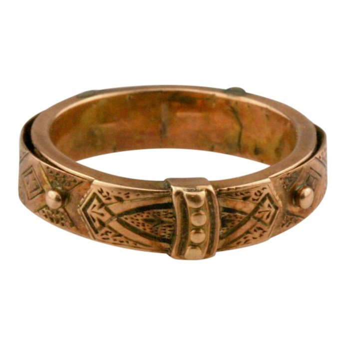 10K Gold Victorian Mourning Braided Hair Ring, 19th C