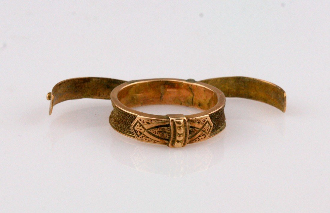 10K Gold Victorian Mourning Braided Hair Ring, 19th C - 2