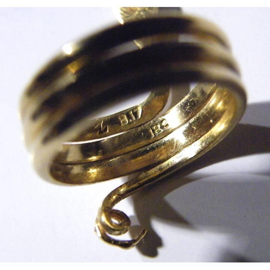 Vintage Solid 18K Gold Snake Ring - 4