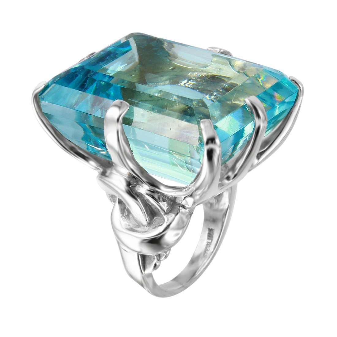 Aquamarine Sterling Silver Cocktail Ring, Size 6 - 2