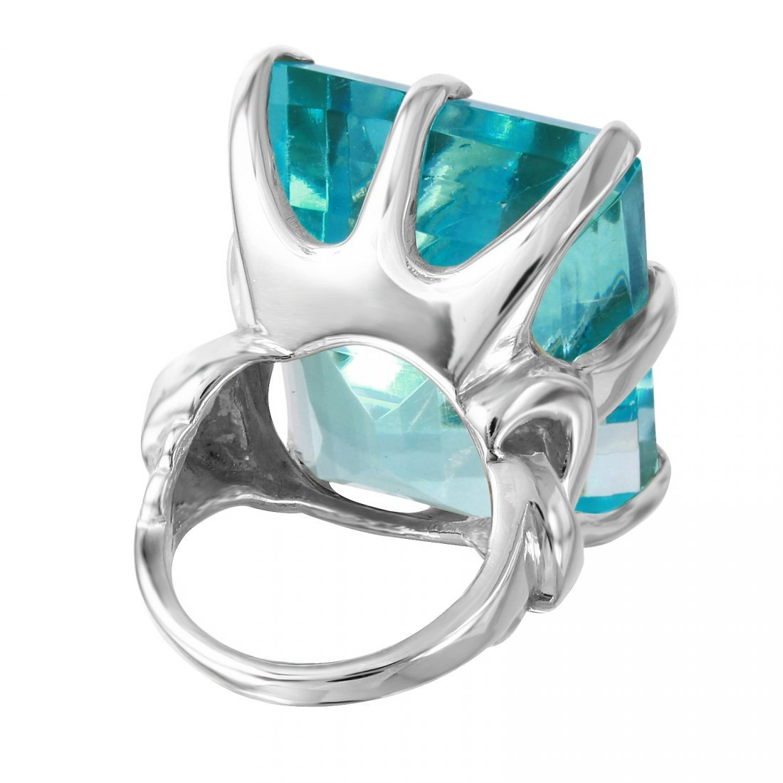 Aquamarine Sterling Silver Cocktail Ring, Size 6 - 3
