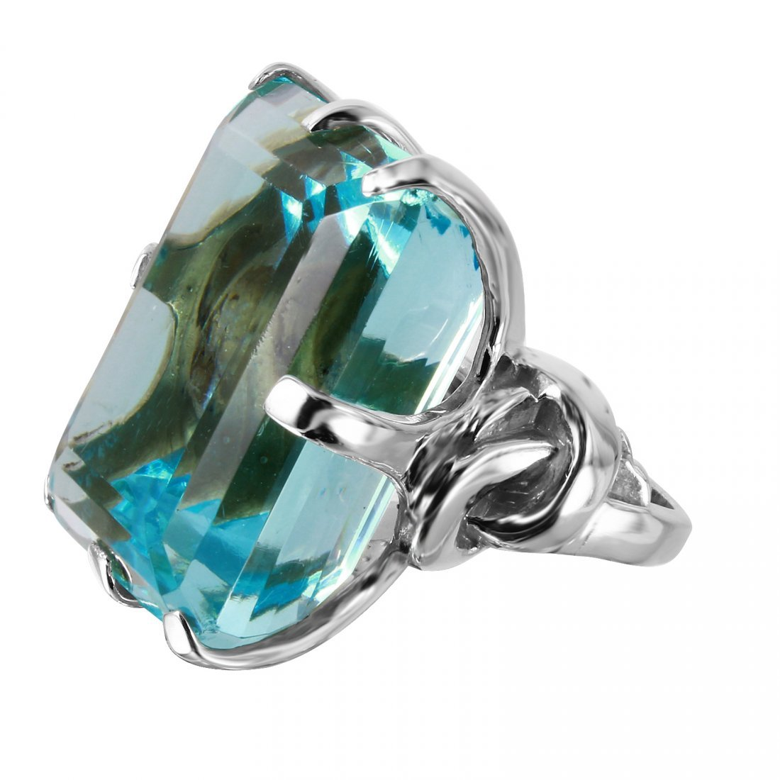 Aquamarine Sterling Silver Cocktail Ring, Size 6 - 4