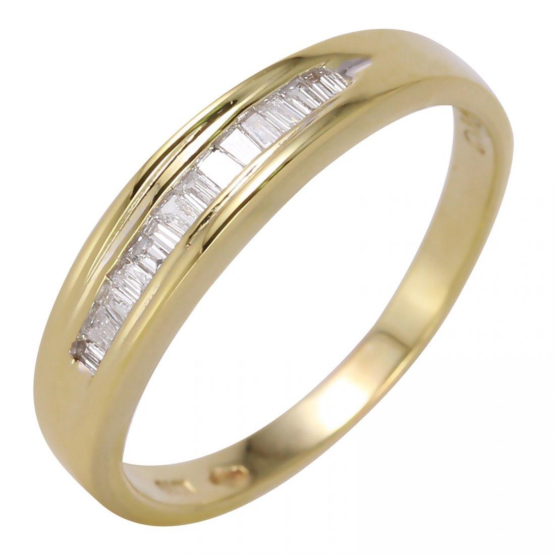 14K Yellow Gold Diamond Wedding Band, 0.25 ctw