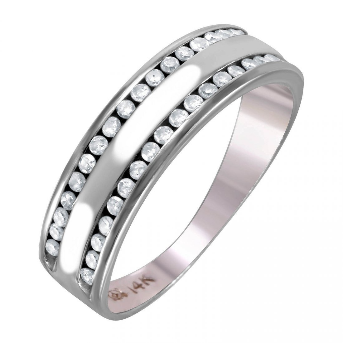 14K White Gold Diamond Wedding Band, Size 5