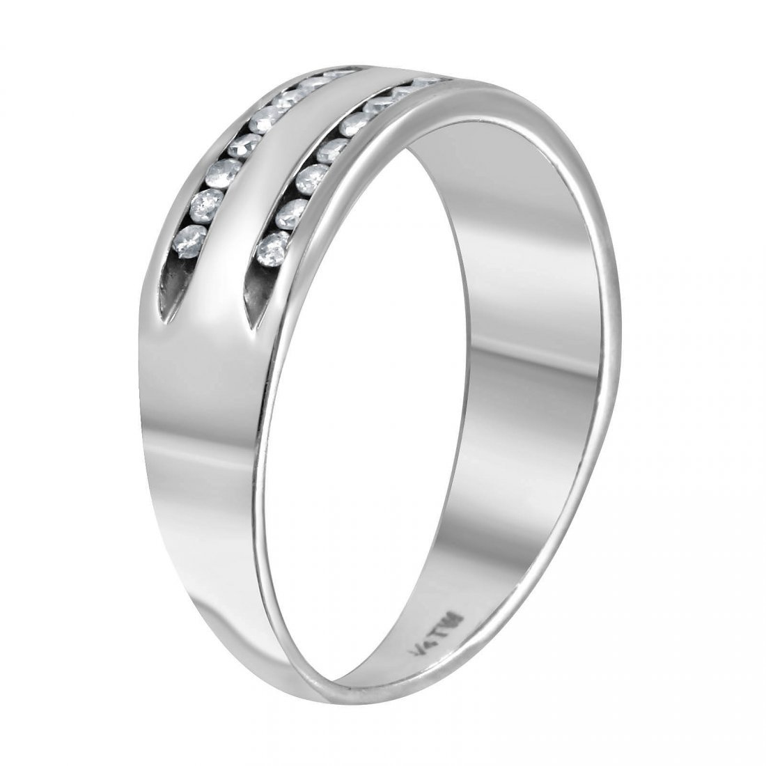 14K White Gold Diamond Wedding Band, Size 5 - 2