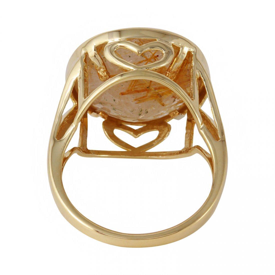 10K Yellow Gold Quartz Ring, 10 cts - 2