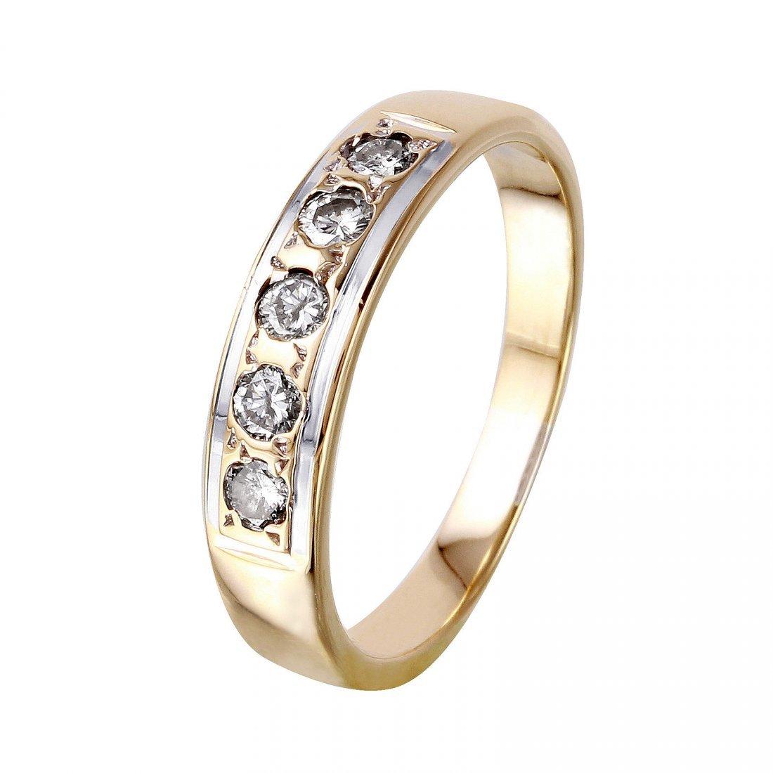 14K Yellow Gold Diamond Wedding Band, 0.3 ctw