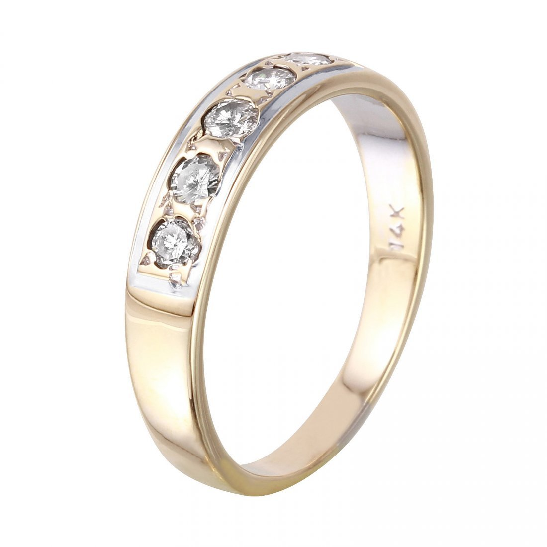 14K Yellow Gold Diamond Wedding Band, 0.3 ctw - 2