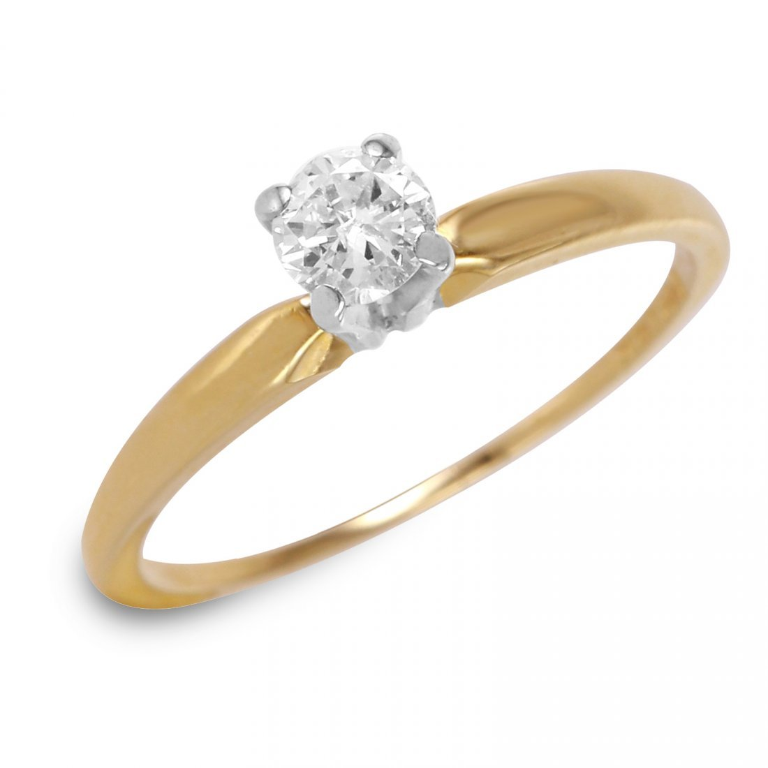 14K Yellow Gold Diamond Solitaire Ring, 0.25 cts