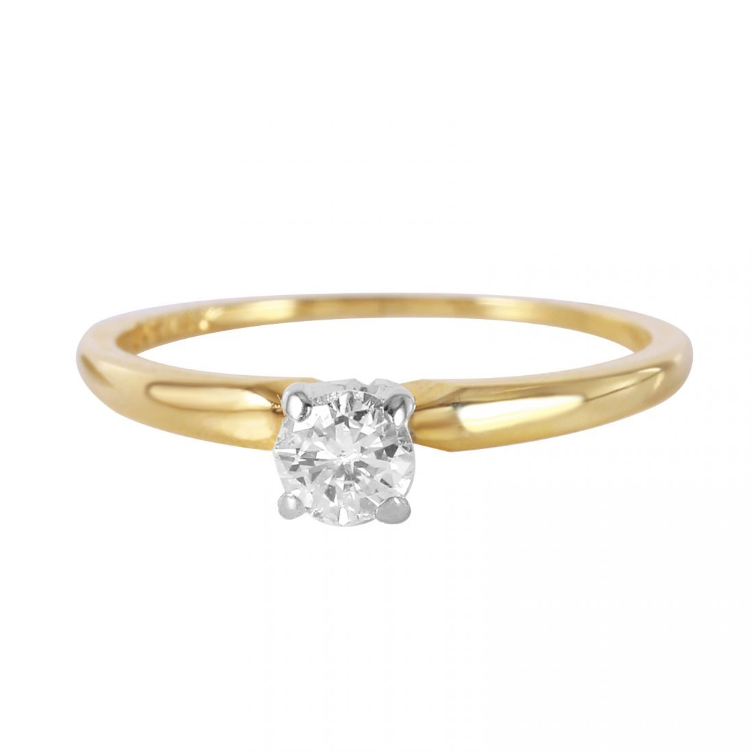 14K Yellow Gold Diamond Solitaire Ring, 0.25 cts - 2