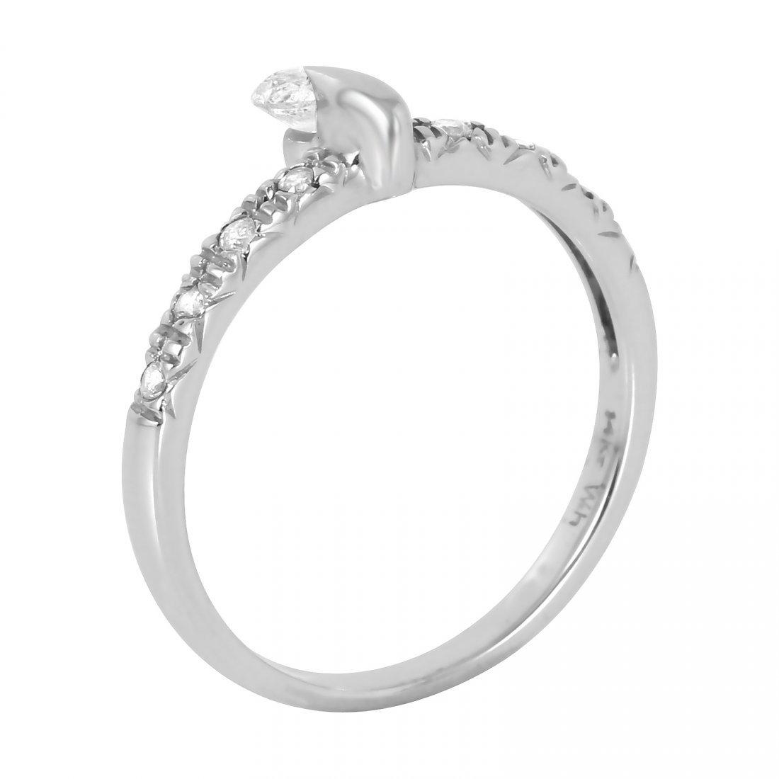 14KT White Gold Diamond Ring, 0.18 ctw - 2