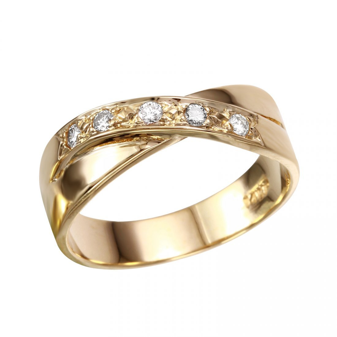 14K Yellow Gold Diamond Crossover Ring, 0.10 ctw