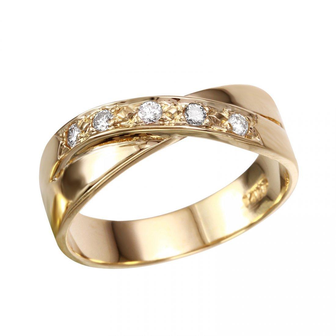 14K Yellow Gold Diamond Crossover Ring, 0.10 ctw