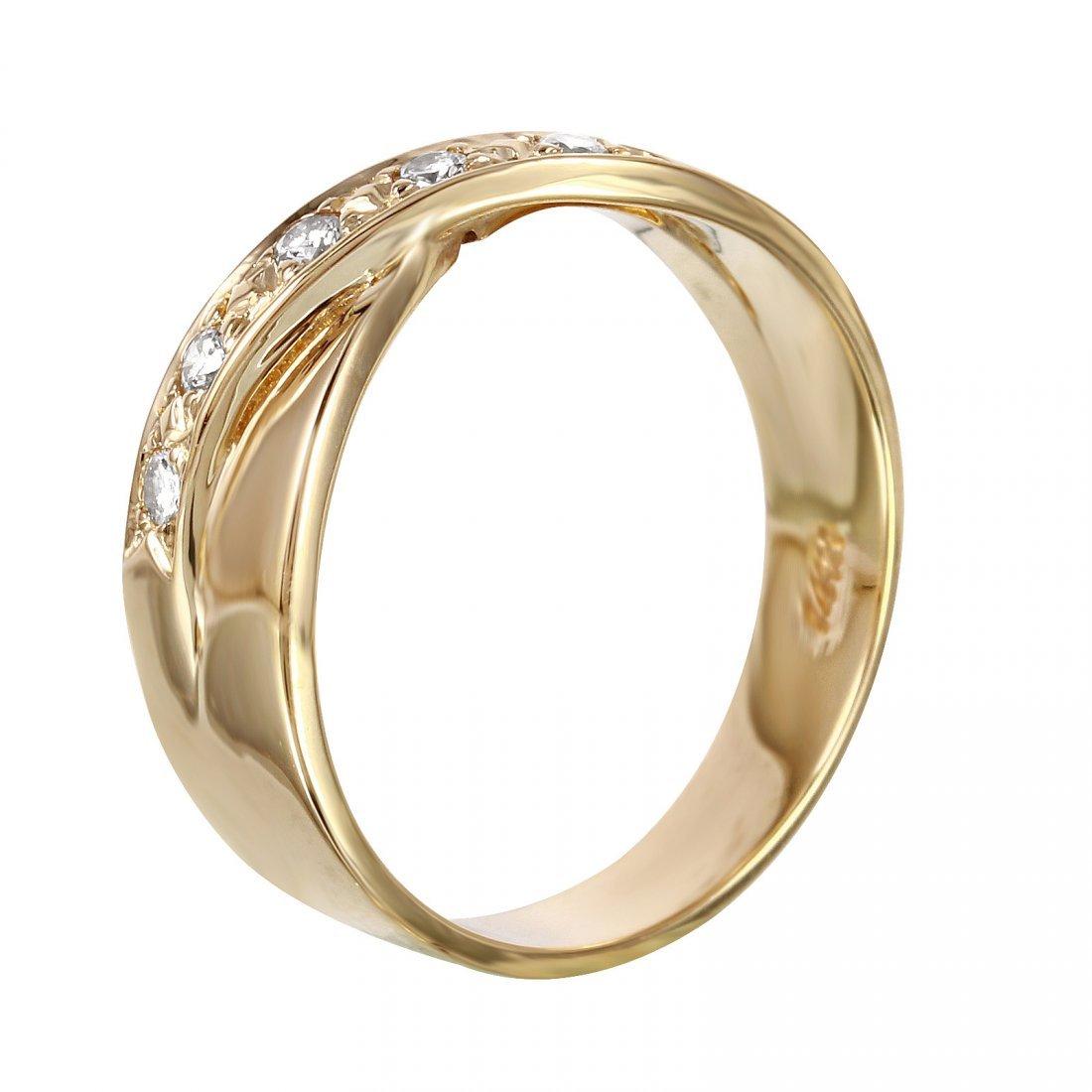 14K Yellow Gold Diamond Crossover Ring, 0.10 ctw - 2