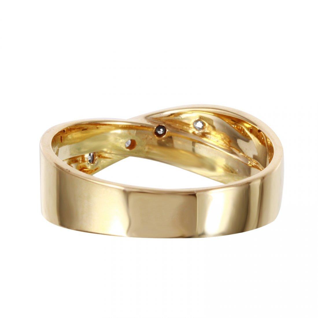 14K Yellow Gold Diamond Crossover Ring, 0.10 ctw - 3
