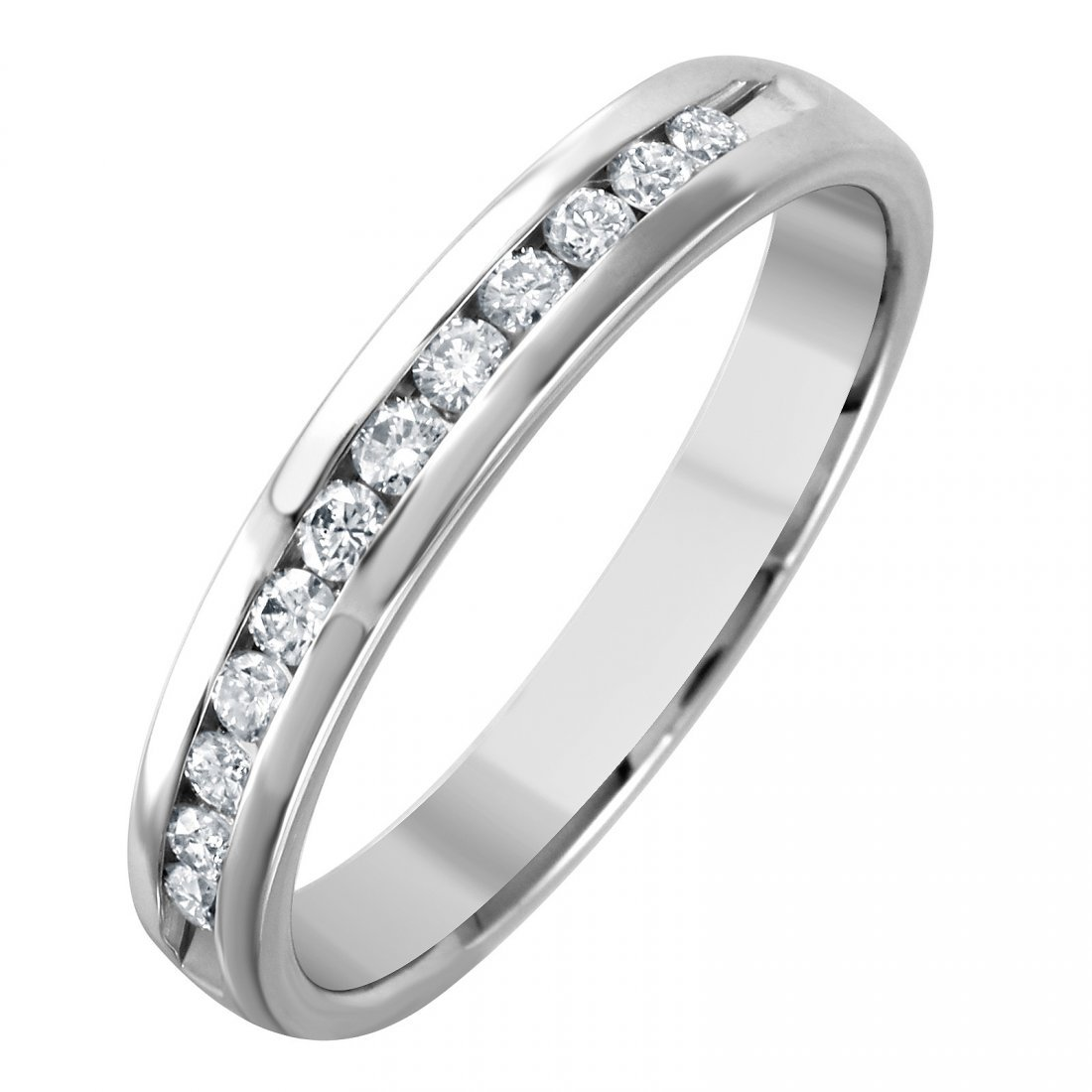 14K White Gold Diamond Wedding Band, 0.2 ctw