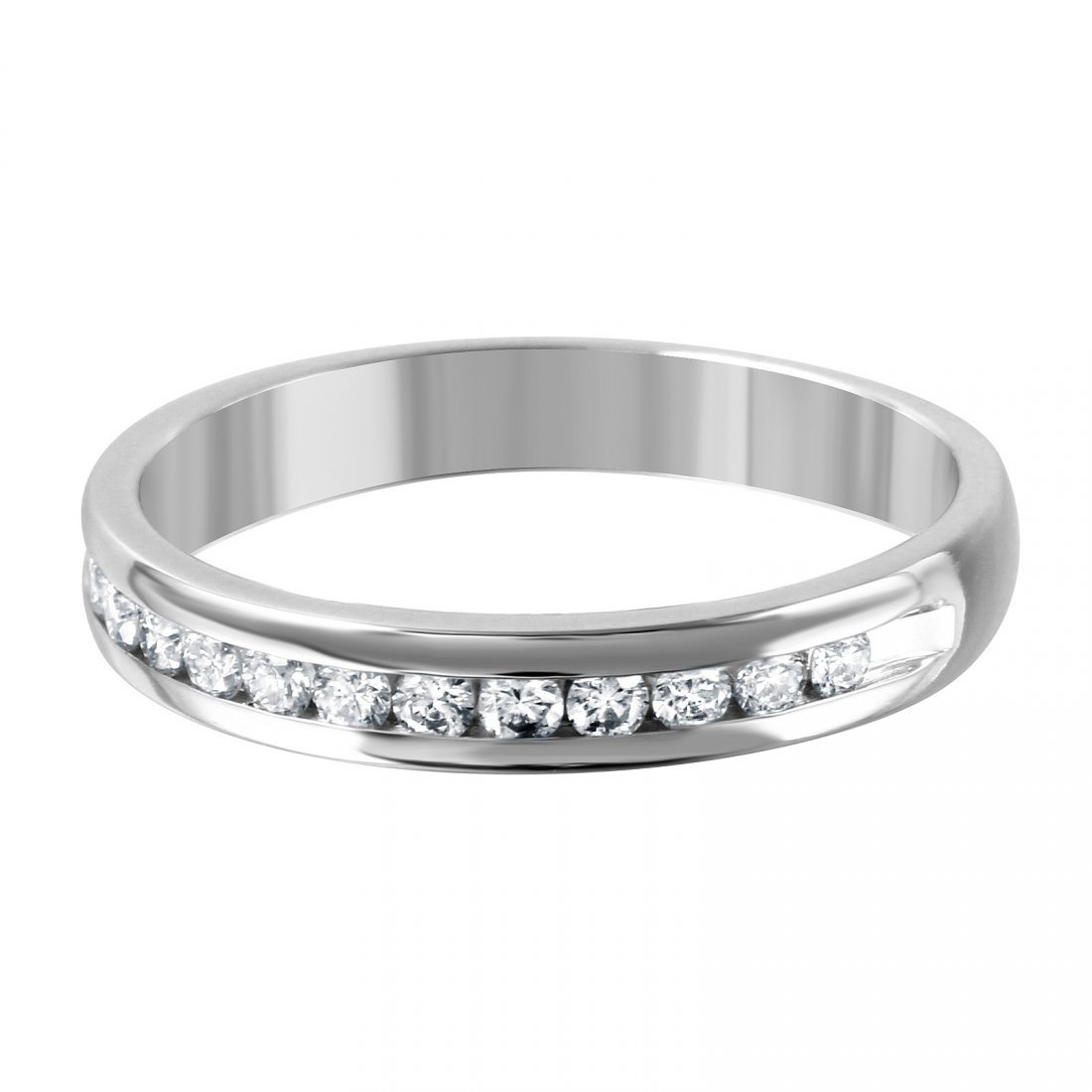 14K White Gold Diamond Wedding Band, 0.2 ctw - 3