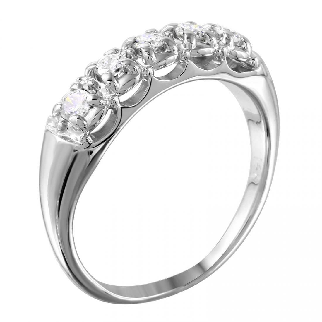 14K White Gold Diamond Wedding Band - 2