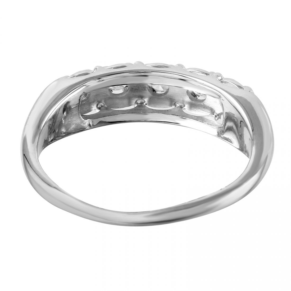 14K White Gold Diamond Wedding Band - 3