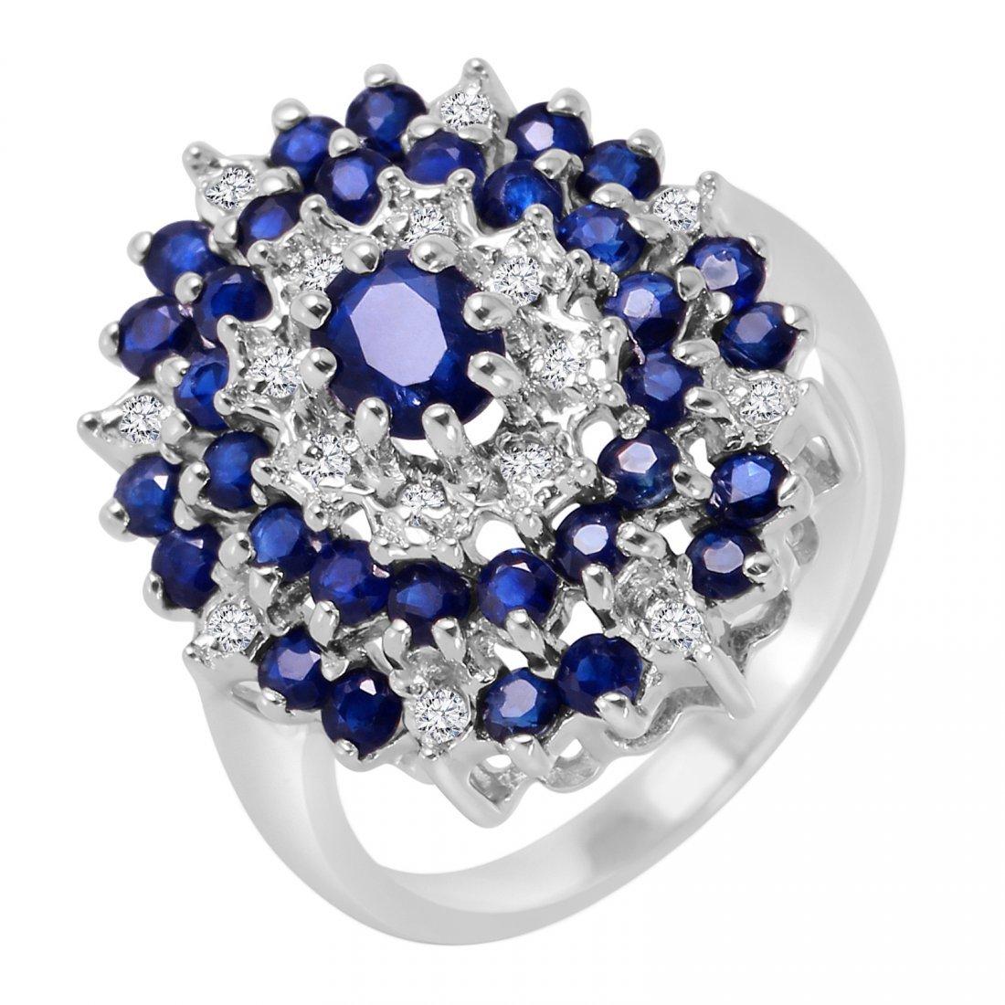 10K White Gold Sapphire Diamond Ring, 0.71 ctw