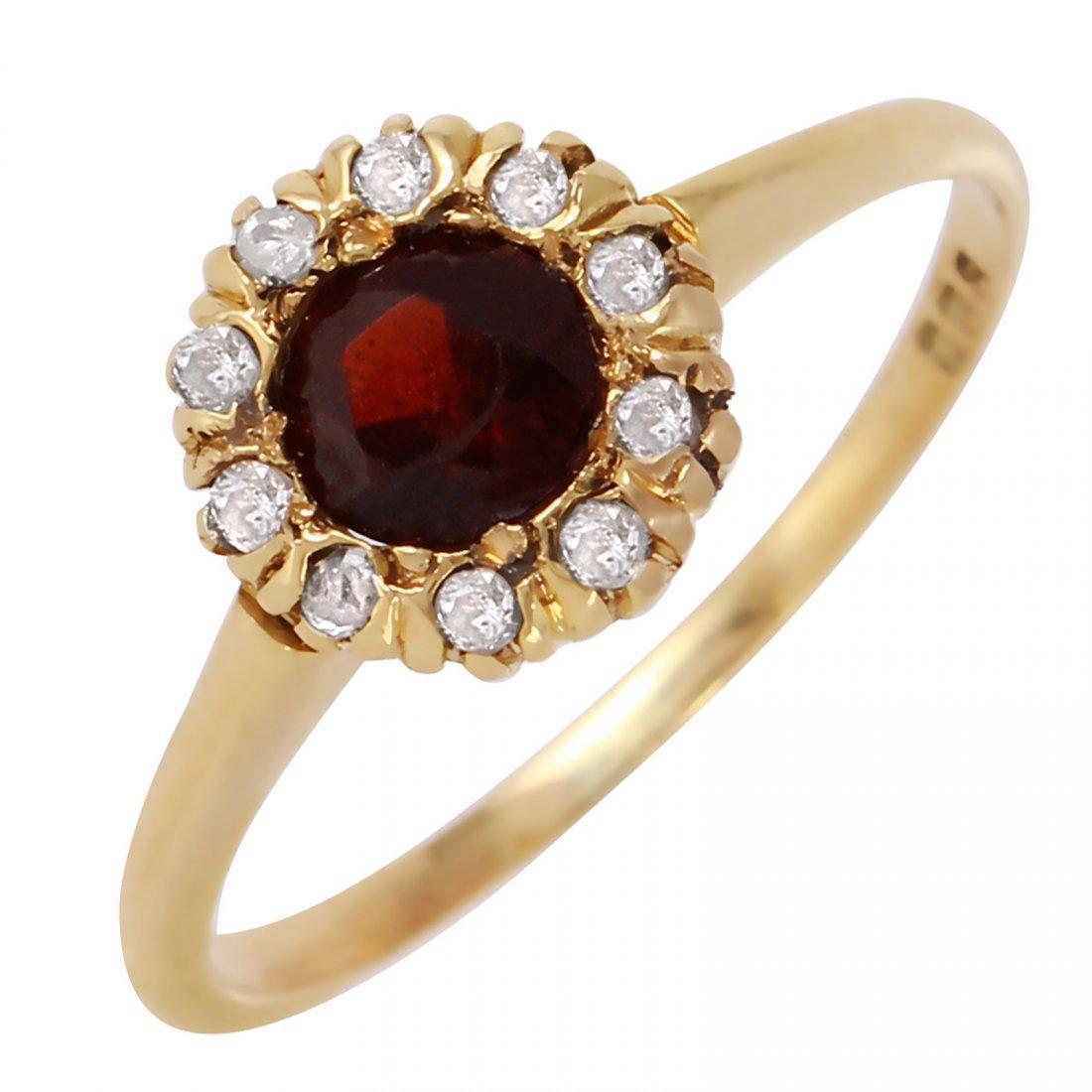 10K Yellow Gold Garnet Diamond Ring
