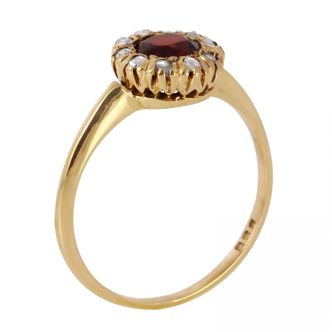 10K Yellow Gold Garnet Diamond Ring - 2