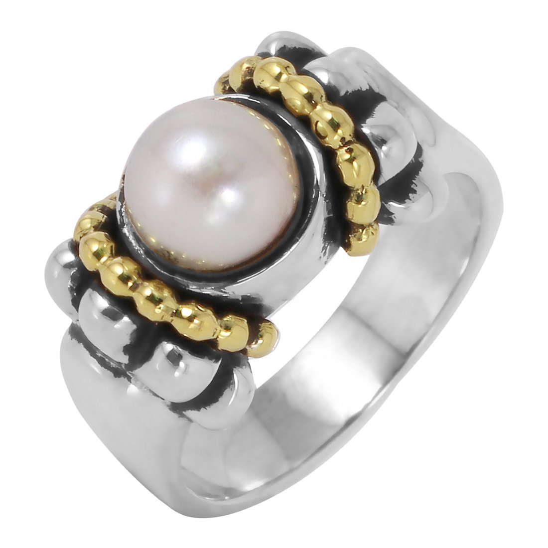 Lagos: 18K Gold Sterling Silver Pearl Ring